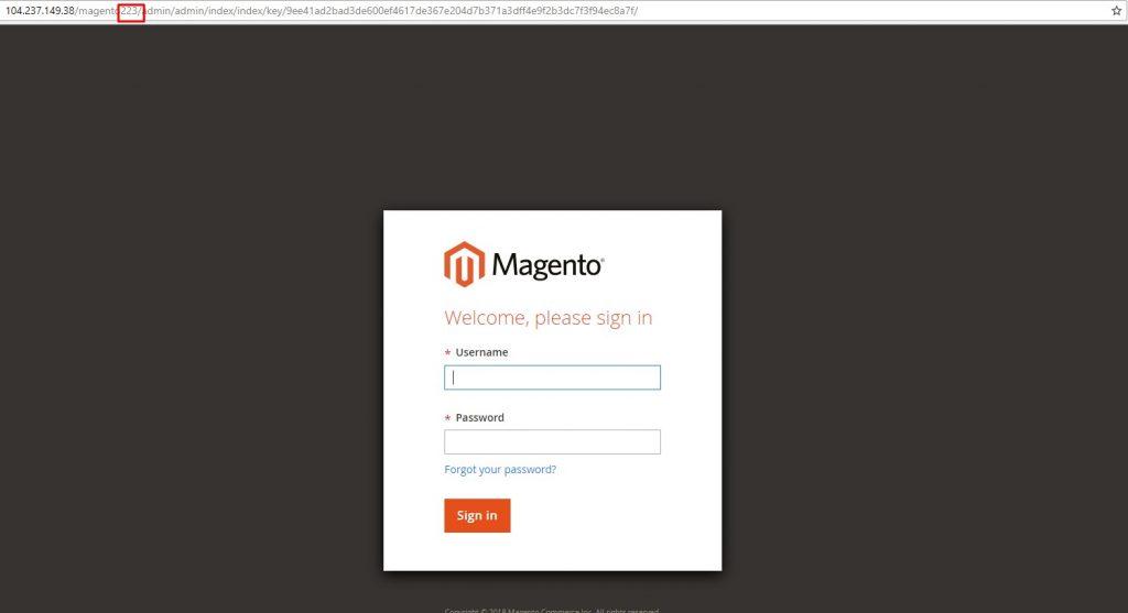 Magento 2 Luma theme demo backend log in