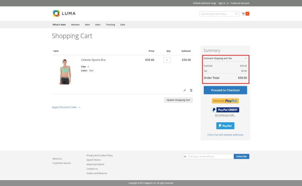 Magento_2_Shopping Cart