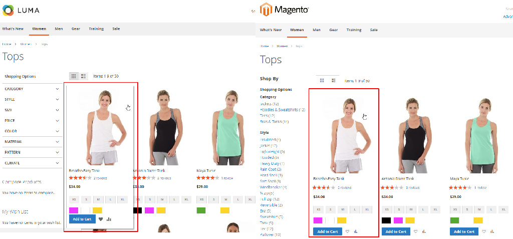 Magento 2 theme comparison Luma and Blank - product hover
