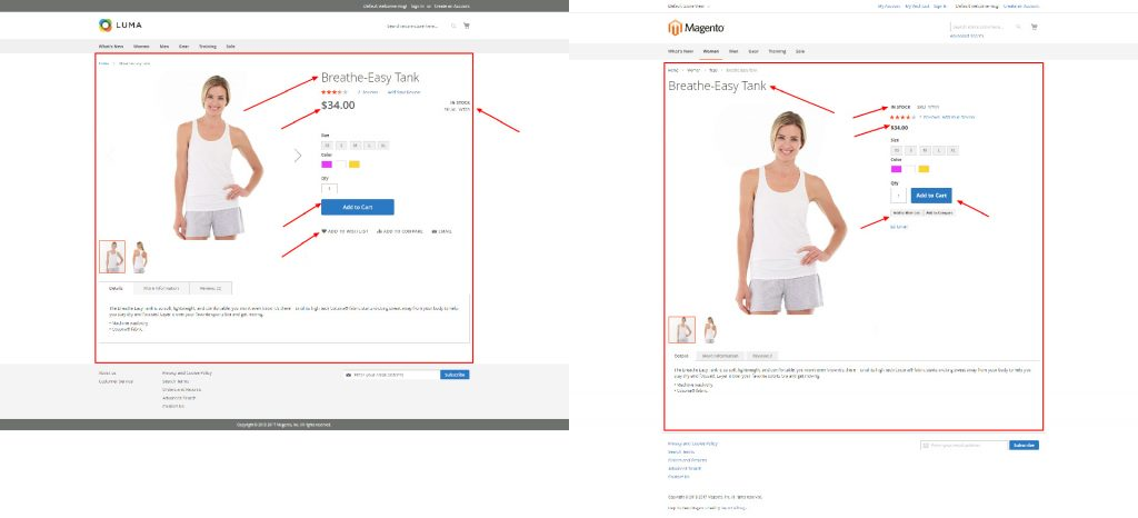 Magento 2 theme comparison Luma and Blank - product detail