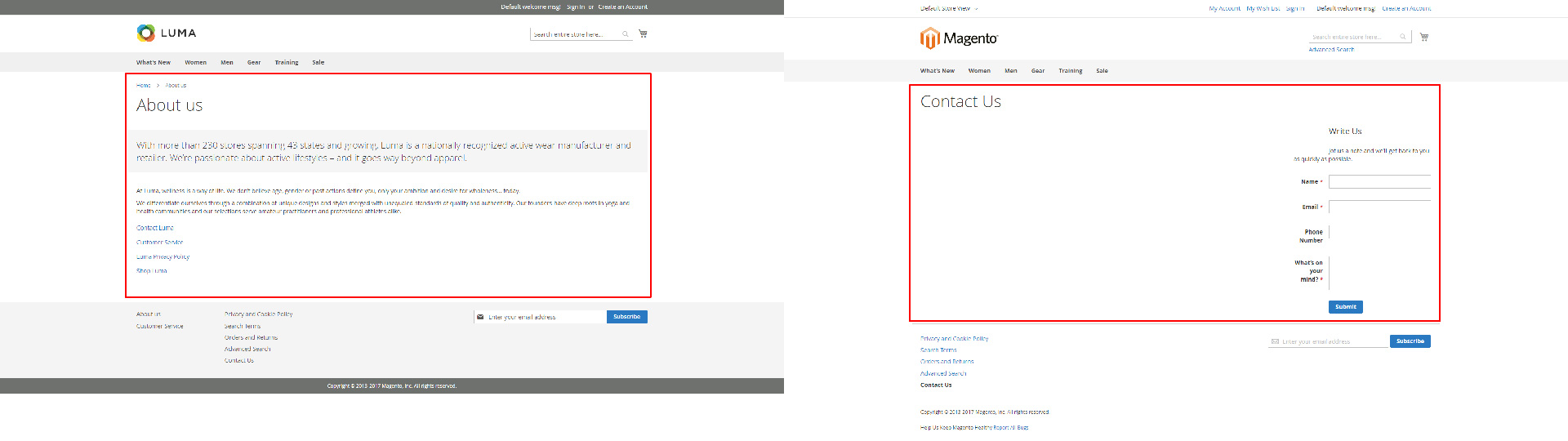 Magento 2 theme comparison Luma and Blank - About page