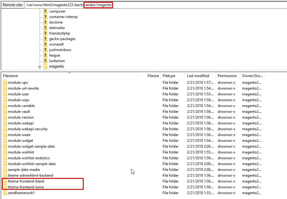 Magento 2 theme comparison Luma and Blank folder