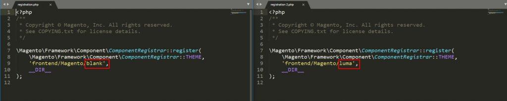 Magento 2 theme comparison Luma and Blank PHP files