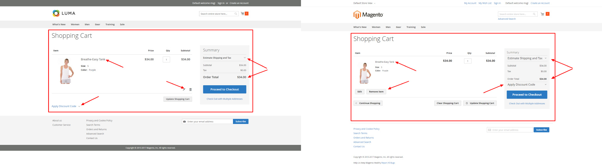 Magento 2 theme comparison Luma and Blank - cart page