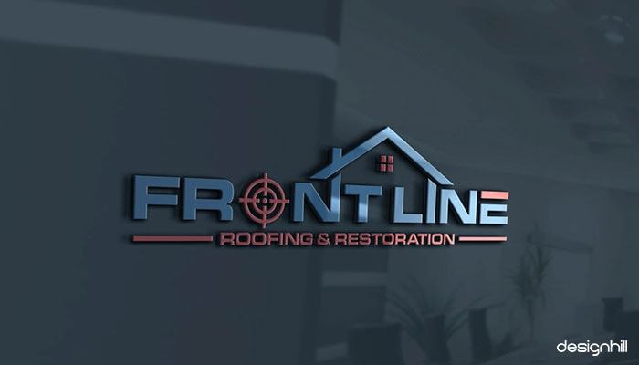 Frontline Roofing and restoration logo in choosing premium Magento 2 theme design