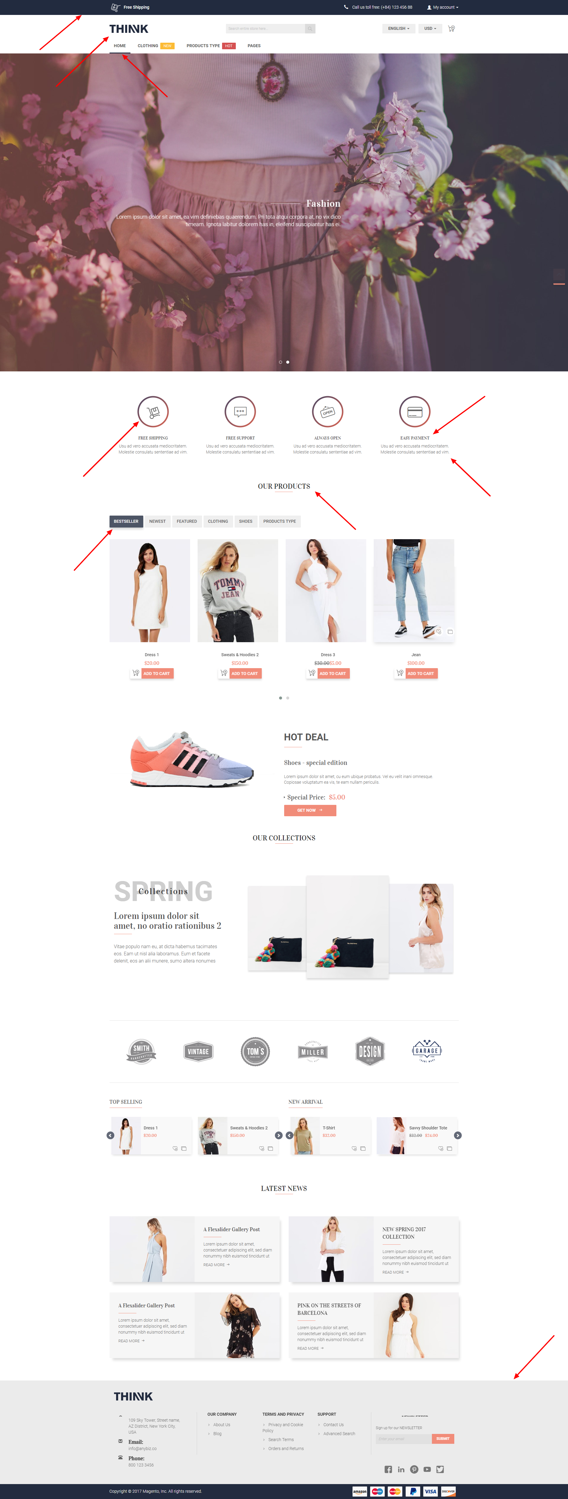 example color configuration in choosing premium Magento 2 theme design