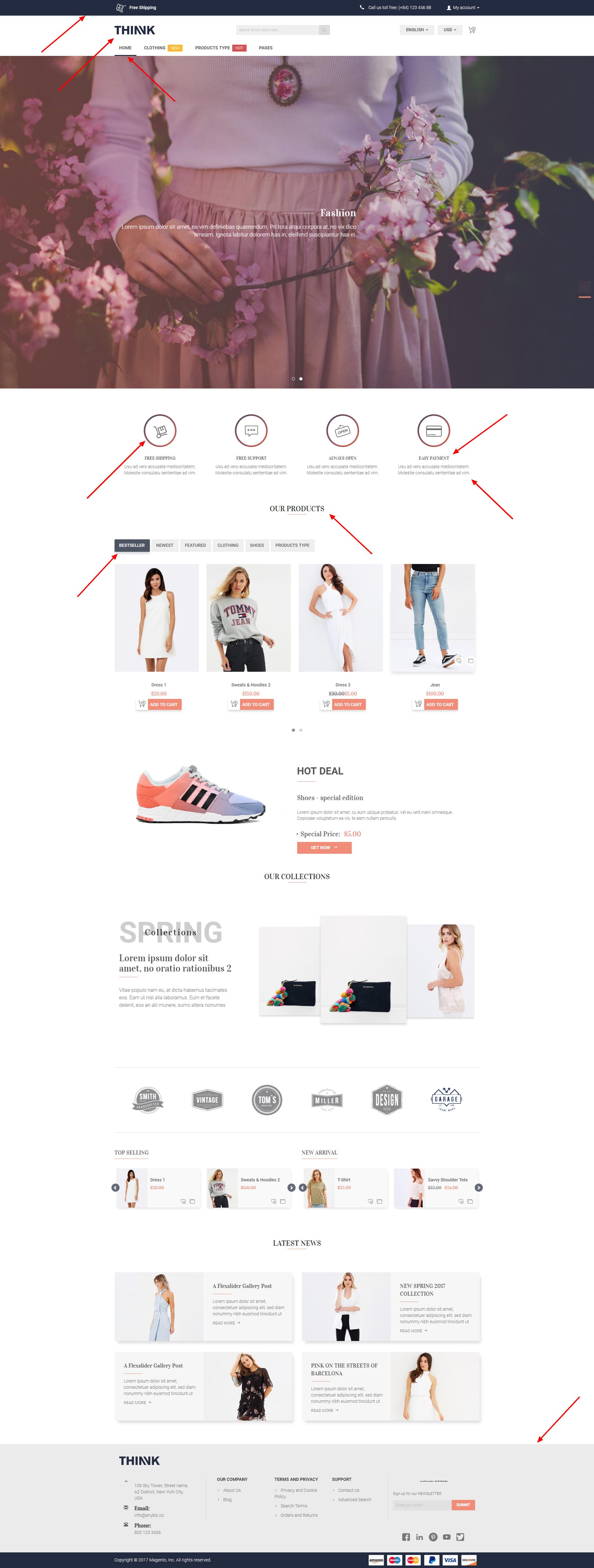 example color configuration in choosing premium Magento 2 theme design
