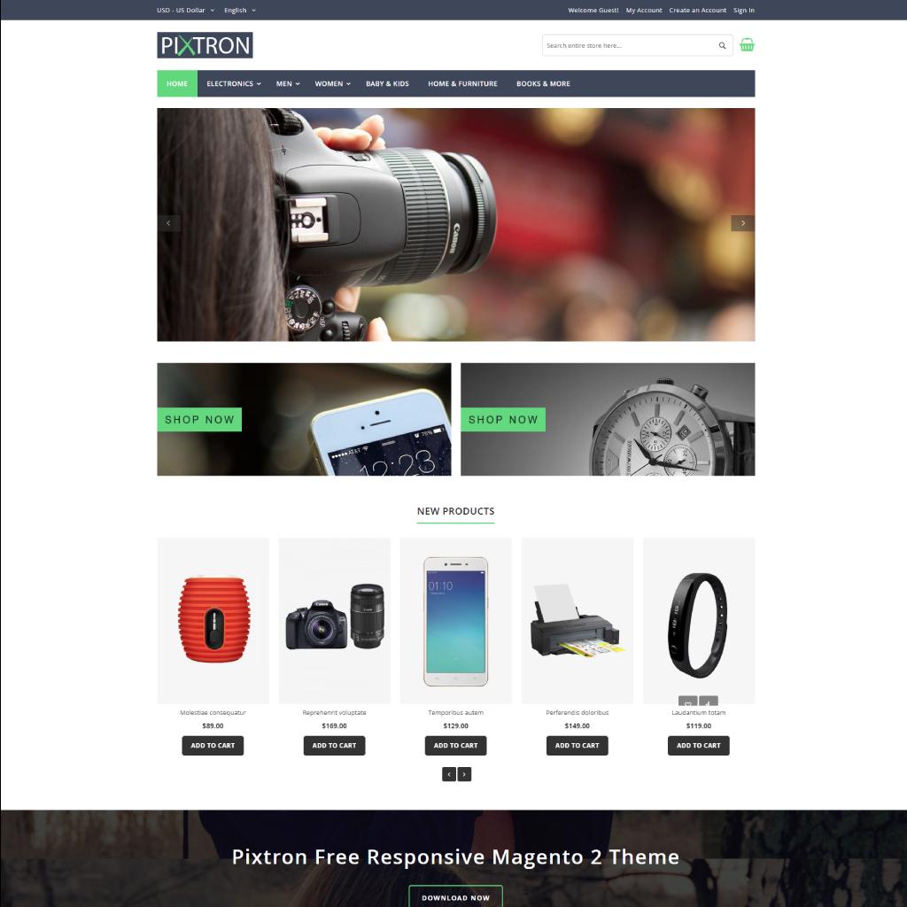magento-2-free-theme-with-documentation-pixtron